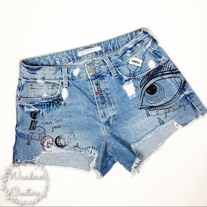Zara Graffiti Distressed Cut Off Shorts
